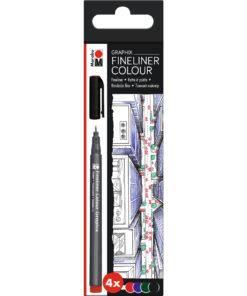 Marabu Fineliner Graphix-Set Skyline, 4 Stifte