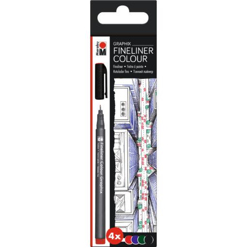 Marabu Fineliner Graphix-Set Skyline, 4 Stifte
