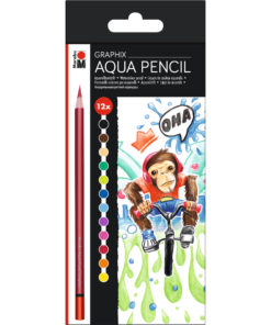 Marabu Aqua Pencil Aquarellstifte im Set Funkey Monkey, 12 Stifte