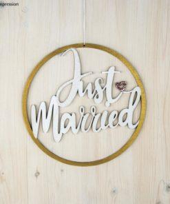 Holzkranz Just Married in gold und weiß