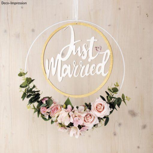 Holzkranz Just Married mit Rosen