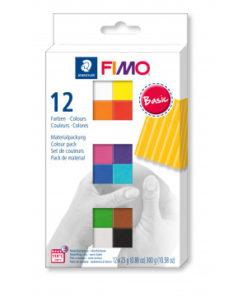 Staedtler Fimo soft Farbenset, Basic Colours, 12 Halbblöcke à 25g