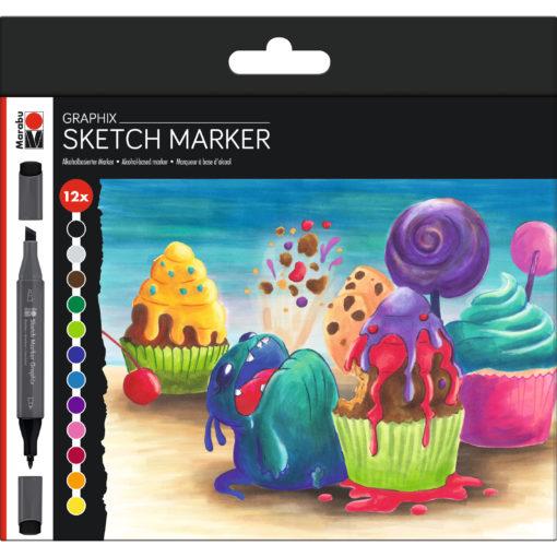 Marabu Sketch Marker Sugarholic, Graphix-Set, 12 Stifte