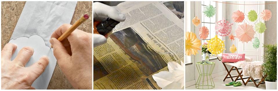 Blüten aus Papiertüten werden aufgezeichnet und eingesprüht