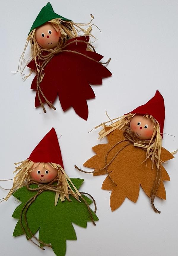 3 Blätterkinder aus Filz.