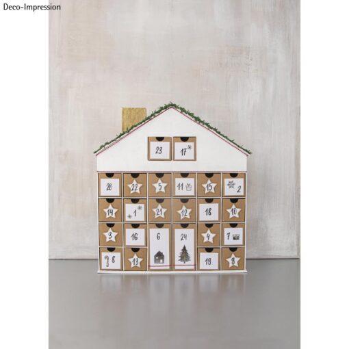 Adventskalender Haus aus Pappmache