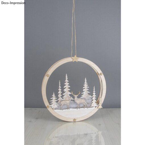 Holzkranz Winterlandschaft mit Rehen
