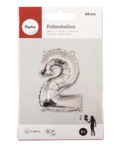 Folienballon Zahl 2, zum Befüllen mit Luft