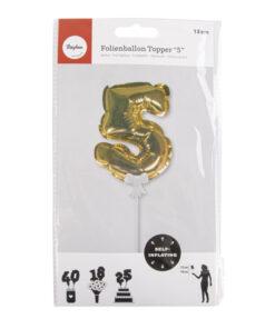 Folienballon Topper Zahl 5