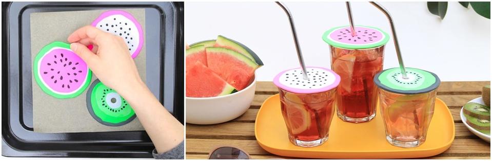 Fruchtige Glasdeckel aus Fimo.