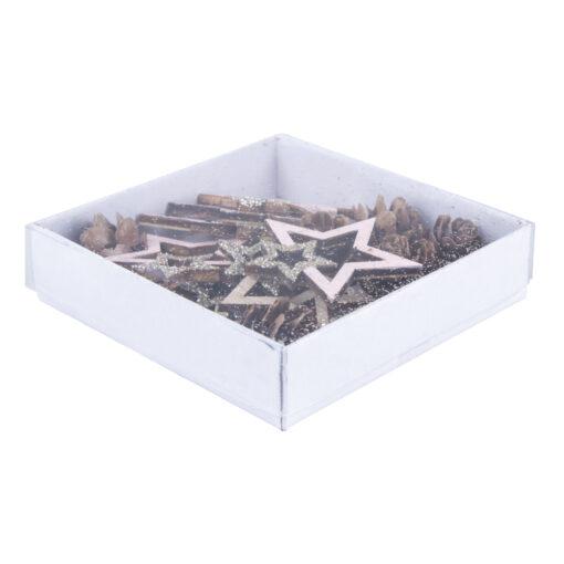 Holz Streuteile Mix Sterne+Zapfen