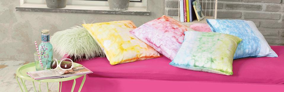 4 Kissen in Pastellfarben