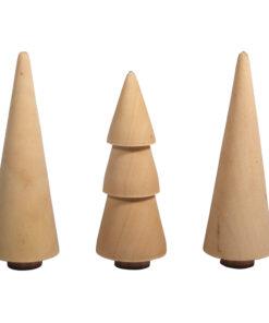 Holz Tannenbäume, sortiert 3 Stück
