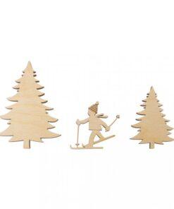 Holz-Streudeko Skifahrer, zum Streuen und Dekorieren