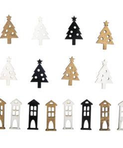 Holz Streuteile Christbaum + Haus, zum Dekorieren
