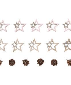 Holz-Streuteile Sterne+Zapfen zum Streuen und Dekorieren