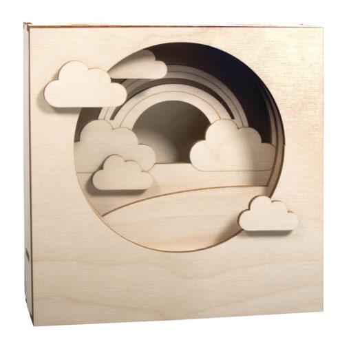 Holzbausatz 3D Motivrahmen Wolke, zum Basteln und Gestalten