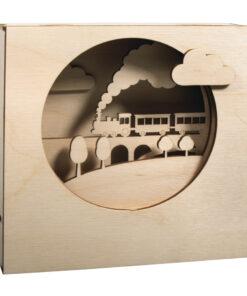 Holzbausatz 3D Motivrahmen Zug zum Basteln und Gestalten