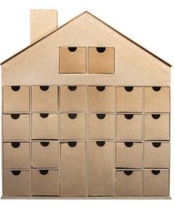Pappmaché-Advenskalender Haus zum Bemalen