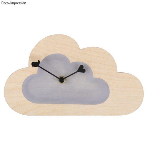 Wanduhr, Wolke aus Holz