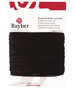 gewachste Baumwollkordel, 1mm Ø, dunkelbraun, zum Basteln