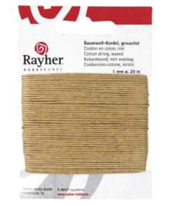 gewachste Baumwollkordel, 1mm Ø, natur, zum Basteln