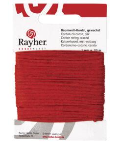 gewachste Baumwollkordel, 1mm Ø, rot, zum Basteln