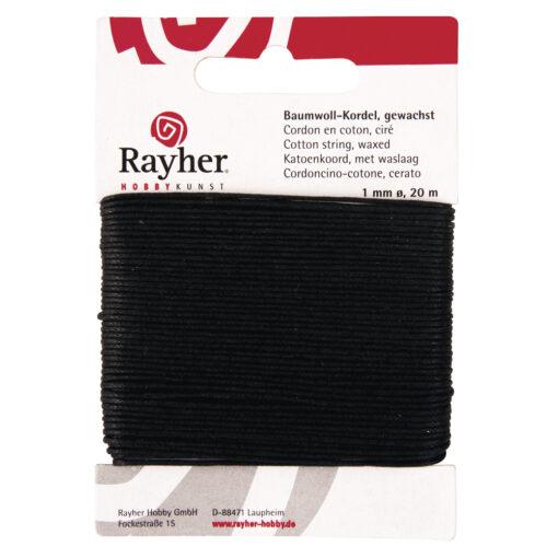 gewachste Baumwollkordel, 1mm Ø, schwarz, zum Basteln