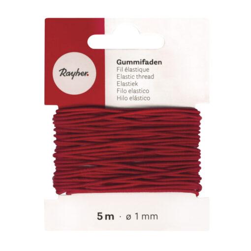 Gummifaden rot, 1mm Ø, zur Schmuckgestaltung