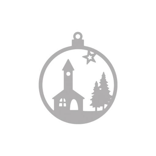 Stanzschablone Weihnachtskugel KIirche zum Stanzen