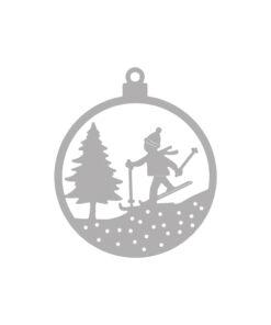Stanzschablone Weihnachtskugel Skifahrer zum Stanzen