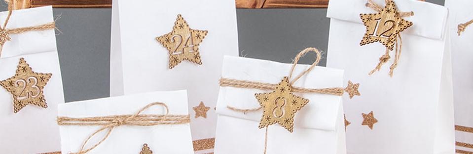 Adventskalenderzahlen Sterne aus Holz