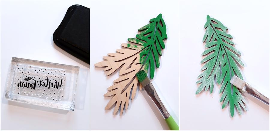 Clear Stamps Wintertraum und Tannenzweige aus Holz in grün.