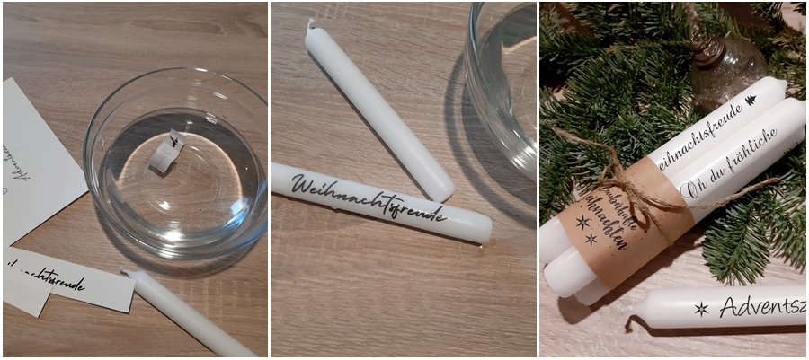 Wasserschiebefolie wird auf einer Kerze verarbeitet.