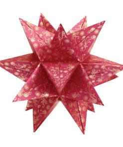 Faltblätter Aurelio-Stern Antares, 15×15 cm, rot/gold
