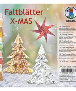 Ursus Faltblätter Xmas, 15x15cm, 30 Blatt