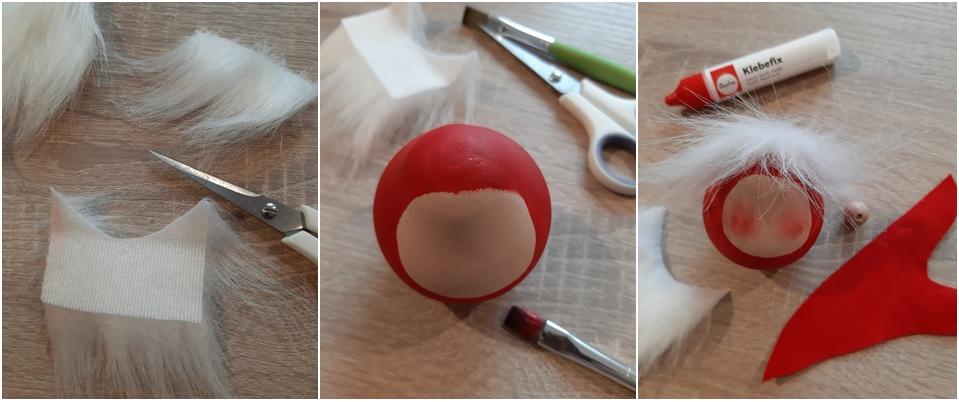 Ein Korpus aus Holz wird mit Langhaarplüsch beklebt und mit roter Farbe bemalt.