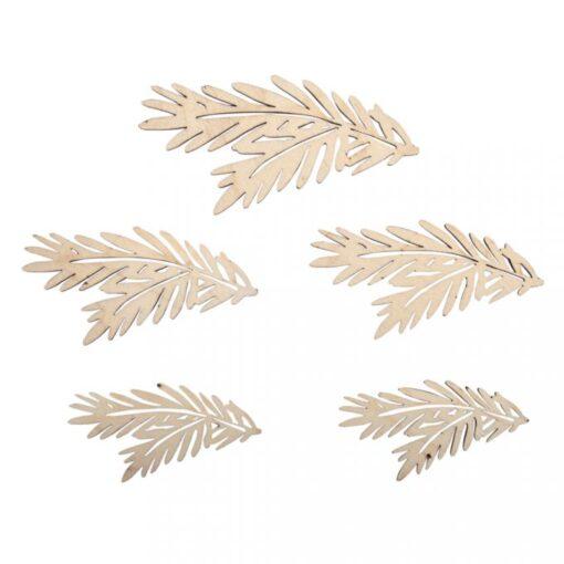 Holz-Tannenzweige, 5 Stück sortiert