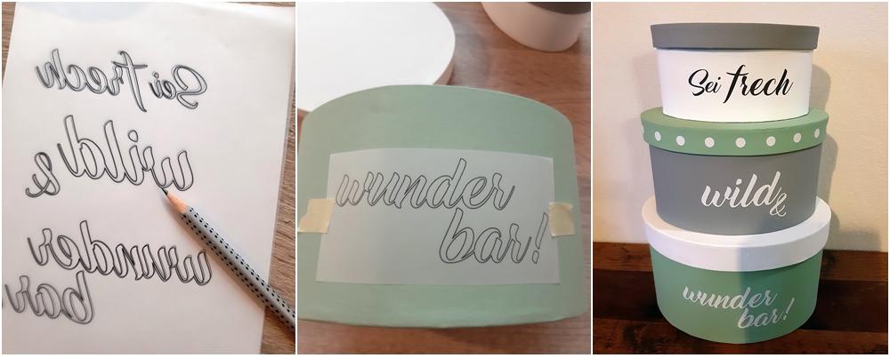 Vorlagebogen und Pappmaché Dosen in weiß, grün und grau