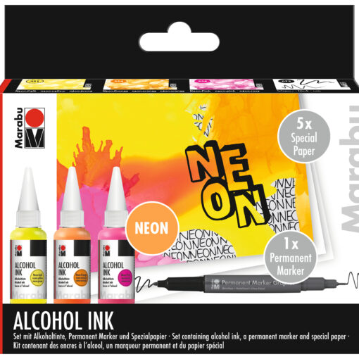 Marabu Set mit Alkoholtinte, neonfarben, für Zeichnungen