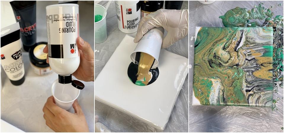 Golden Pouring wird angemischt und auf einen Keilrahmen aufgetragen.