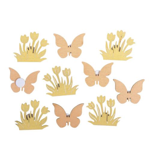 Holz-Streuteile Blume+Schmetterling, mit Klebepunkt