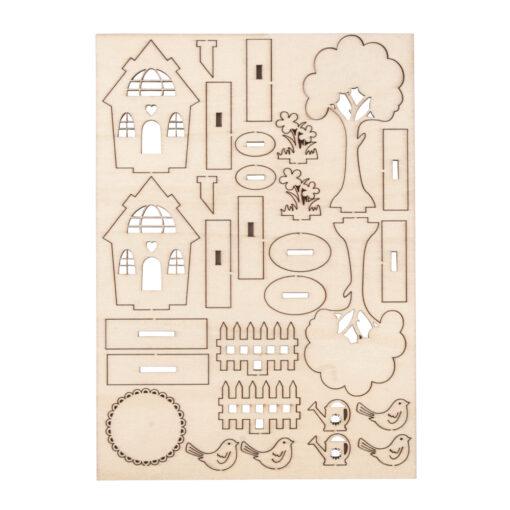 Rayher Holzbausatz Gartenhäuser, 29-teilig