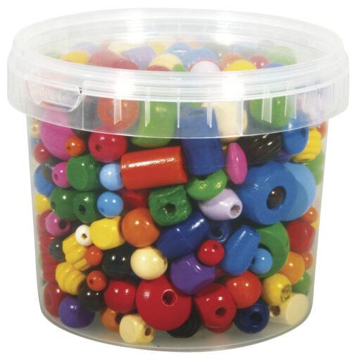 Holz-Perlen, gemischt, 4-16mm, zum Basteln