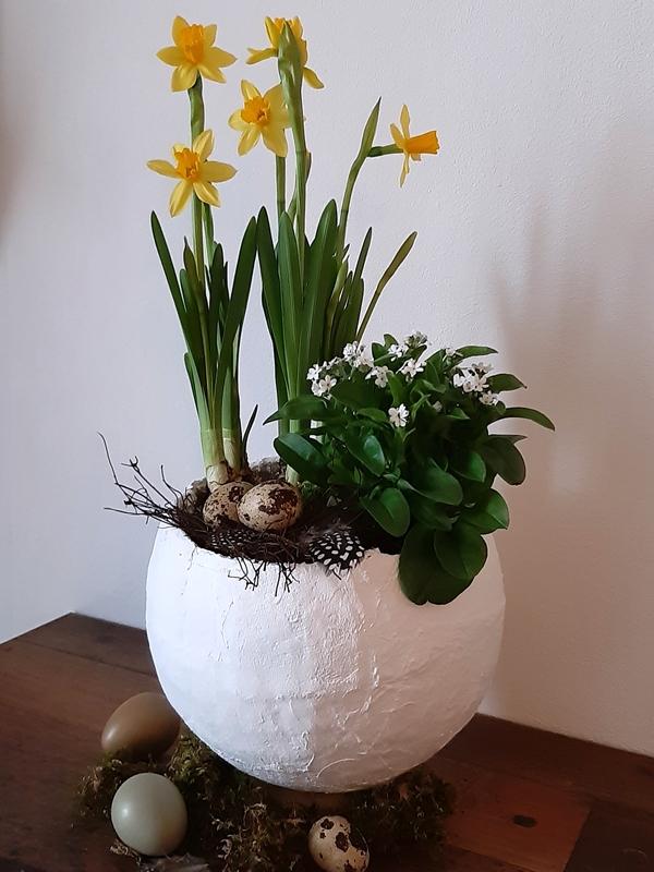 Pflanzschale mit Osterglocken und Natureiern