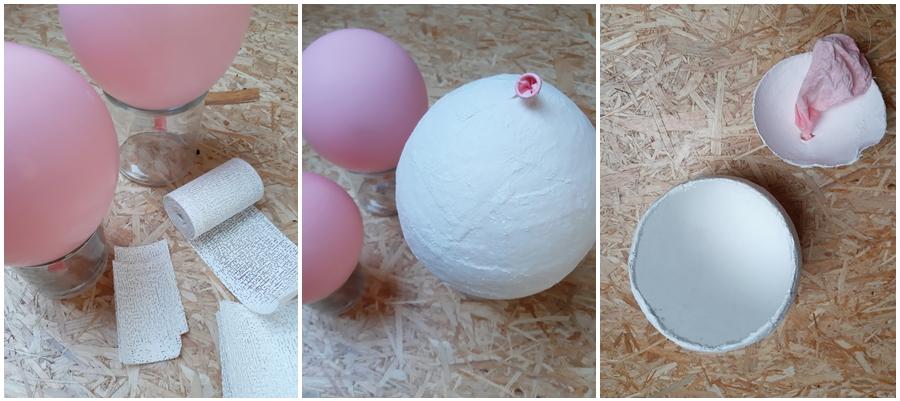 Luftballons und Gipsbinden zur Herstellung einer Pflanzschale