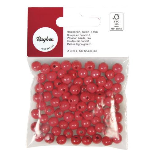 Rayher Holzperlen poliert in rot