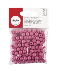 glänzend polierte Holzperlen, pink
