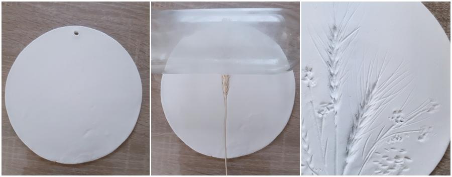 Anhänger aus Modelliermasse mit Pflanzenabdrücken