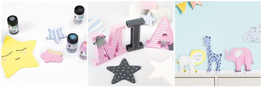Deko-Accessoires in Pastellfarben fürs Kinderzimmer